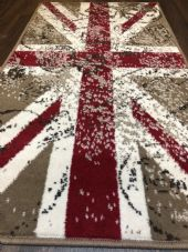 Modern Rug Approx 4x2ft 60cmx110cm Woven Back Nice Design Stamped Union Jack